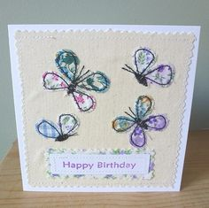 Applique Butterfly Birthday textile card butterfly with machine embroidery also good as a mothers day or thank you or wedding card design,invitation or journal cover Freehand Machine Embroidery, Free Motion Embroidery, Machine Embroidery Applique, Applique Patterns, Fabric Cards, Fabric Postcards, Scrap Fabric Projects, Sewing Projects, Sewing Cards