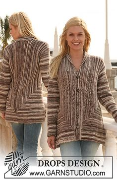 """Ravelry: 113-8 Jacket knitted from side to side in garter st in """"Fabel"""" pattern by DROPS design"""