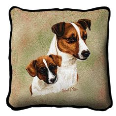 Jack Russell Terrier Dog with Puppy Portrait Pillow