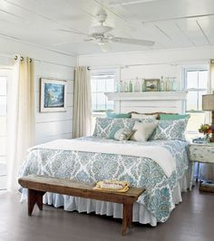I love the mantle and the plank walls, the wrap around curtains/rods.  I wonder if I couldn't incorporate the footboard tray?  Check out the dropleaf nightstand Coastal Cottage Decorating