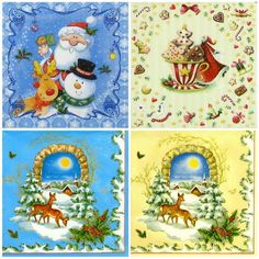4 Single Table Party Paper Napkins for Decoupage Decopatch Craft Winter Mix
