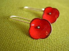 poppy earrings enamel copper silver  by Janice Ho
