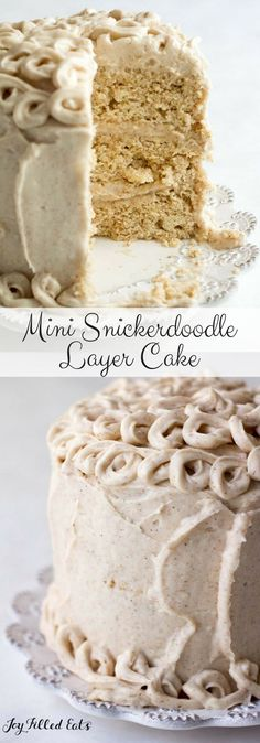 Mini Snickerdoodle Layer Cake - Low Carb, Grain Free, THM S - Cinnamon cake and cinnamon cream cheese icing in a delicious cake to serve 4. When you need something a little more special than a mug cake this is perfect.   via @joyfilledeats (Low Carb Ideas Mug Cakes)