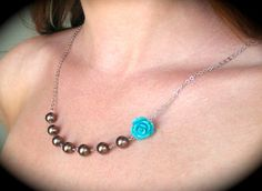 Asymmetrical Feminine and Flirty Blue Rose and Pearl by RWSJEWELRY, $13.00