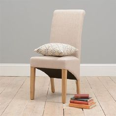 Light Oak Cream Linen Rollback Dining Chair Quality Wooden Furniture At Great Low Prices From PineSolutions