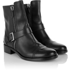 Miu Boots & Booties, Bootie Soft Calf Nero Shoe (3.075 BRL) ❤ liked on Polyvore featuring shoes, boots, black, black leather bootie, short black boots, faux-leather boots, black bootie and buckle ankle boots