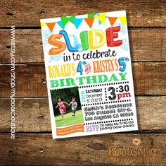 Birthday Party invitation summer pool party water slide combined joint siblings waterslide photo invite digital printable invitation 13538 by myooakboutique on Etsy