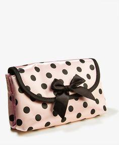 Expandable Polka Dot Cosmetic Bag