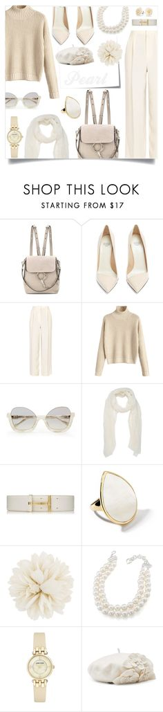"""""""Pearl."""" by ezgi-g ❤ liked on Polyvore featuring Post-It, Chloé, Francesco Russo, The Row, La Perla, Ippolita, Gucci, Carolee, Anne Klein and Betmar"""