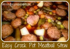 Easy Crock Pot Recipe - Meatball Crock Pot Stew! - Blessed Beyond A Doubt (Id make the meatballs rather than using store bought, but this looks easy and yummy!)