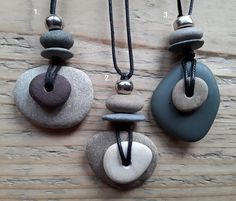 Layered Pebble Pendant 2 & 3 – Seaglass & Pebble Jewellery made by Seaside☆Rocks – Jewelry Rock Jewelry, Metal Clay Jewelry, Ceramic Jewelry, Sea Glass Jewelry, Leather Jewelry, Stone Jewelry, Jewelry Crafts, Jewelry Art, Handmade Jewelry