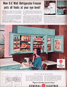 The full 1956 advertisement for the turquoise General Electric wall mounted refrigerator.