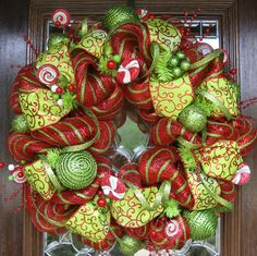 Deluxe Deco Mesh WHIMSICAL CHRISTMAS WREATH 24""