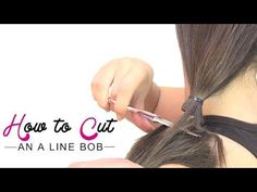 ▶ How to cut an a line bob - YouTube If you want longer in front, separate sides and back and cut the front at an angle after cutting the back in a low ponytail. twist and thin little by little or use thinning shears.