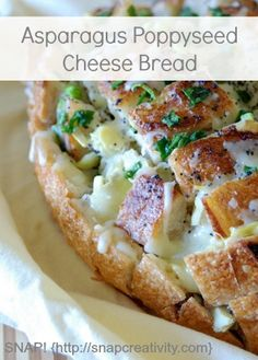 I am not lying when I tell you that this artichoke poppyseed cheese bread is on of the very best appetizers I have ever stuffed in my mouth. Cheese Bread, Best Appetizers, Artichoke, Allrecipes, Pastries, Baked Potato, Asparagus, Breads, Muffins