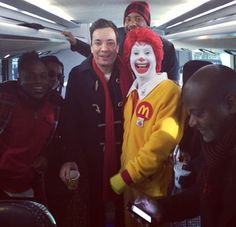 Jimmy and The Roots on their way to the Macy's Thanksgiving Day Parade