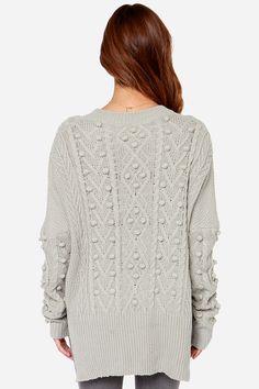 Pom Sweet Pom Knit Grey Sweater at Lulus.com!