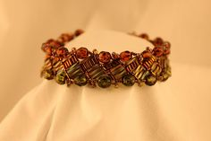 Two-Tone Crystal and Bugle Bead Bracelet,design by S.Eddy