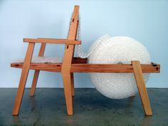 """Bubble Belt Chair designed and handcrafted by Andrew Riiska. Available through The Good Luck Gallery 56""""x28""""x42"""" Its Fun & Functional! (Douglas fir from Canary Row in Monterey, CA. half lap. Through wedged tenon for seats)"""