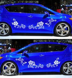 Big Flower Vine Pattern Car Door Decal Vinyl Sticker