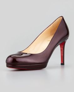 New Simple Patent Pump, Burgundy by Christian Louboutin at Neiman Marcus.