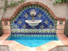 x Unsealed Regular Saltillo Square Edges - Floor Tile Patio Fountain, Garden Fountains, Spanish Courtyard, Mexican Garden, Mexican Home Decor, Outdoor Water Features, Tile Floor, Backyard, Mexican Tiles