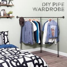 Pipe Decor 1/2 in. x 5 ft. L Black Pipe Corner Wall Mounted Clothing Rack Kit-365 PDFMW20 - The Home Depot Pipe Closet, Closet Rod, H Design, Rack Design, Pipe Clothes Rack, Clothes Rack Bedroom, Diy Clothes Rack Cheap, Wall Mounted Clothing Rack, Rustic Vintage Decor