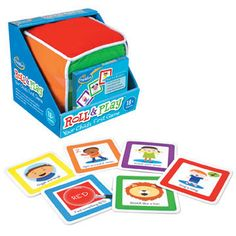 """Roll  Play is the first game ever designed specifically for toddlers! To play, simply toss the big plush cube and identify which colored side faces up. Choose a matching color card and perform the simple activity shown."""