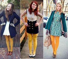Meia calça amarela.