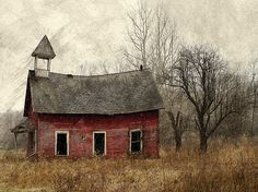 Still Standing (by raewillow)- Barely standing and only useful in that it sparks imagination about its past life. but looks cool. Abandoned Churches, Old Churches, Abandoned Places, Abandoned Mansions, Mary Cassatt, Country School, Old Country Churches, Country Barns, Old School House