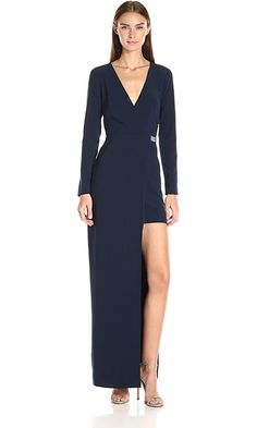 HALSTON HERITAGE Women's Longsleeve V Neck Gown with Asymmetrical Skirt and Chain, Navy, 0 Best Price