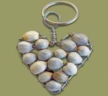 Grey Zulu Bead Heart Key Ring