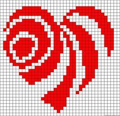 Heart pattern for weaving Cross Stitch Heart, Beaded Cross Stitch, Cross Stitch Embroidery, Bead Loom Patterns, Perler Patterns, Beading Patterns, Tapestry Crochet Patterns, Crochet Chart, Filet Crochet