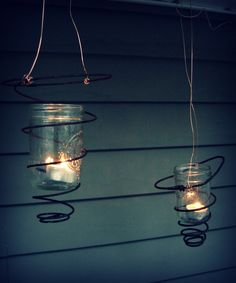 Old springs, canning jars and tea lights, nice whimsical outdoor idea