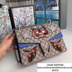 64fb52583bf Gucci Dionysus Embroidered Tiger and Bee Shoulder Medium Bag 403348 400235  2017 Gucci Black