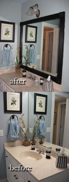 DIY Updated Bathroom Mirror Wood Border