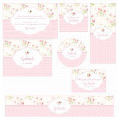 Kit digital para imprimir Floral rosa e branco