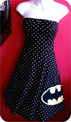OMG!  Do I pin this under Polka Dots or under Batman?!  $70.00 Polka Dot Strapless Dress - on ETSY!
