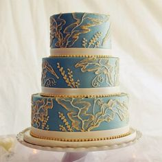 brush embroidery on robin's egg blue wedding cake