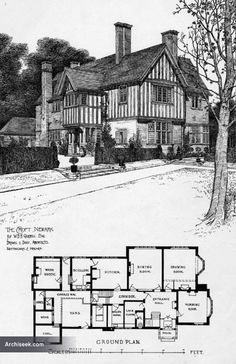 1901 – The Croft, Newark, Nottinghamshire Architect: Brewill & Baily Perspective view including ground plan published in The Building News, June Architecture Blueprints, Architecture Plan, Residential Architecture, English Architecture, Home Building Design, Building Plans, Building A House, The Sims, Sims 4
