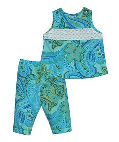 Look at this #zulilyfind! Blue Paisley Tank & Capri Pants - Infant & Toddler by Vive La Fête #zulilyfinds