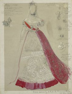 The Royal Collection: Full-length study of dress worn by the Princess of Wales with details of jewellery and orders