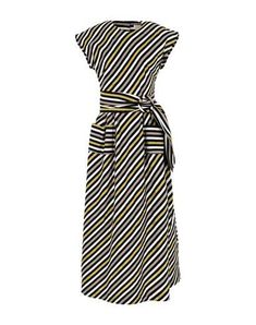 Isa Arfen Women Midi Dress on YOOX. The best online selection of Midi Dress Isa Arfen. YOOX exclusive items of Italian and international designers - Secure payments Isa Arfen, Round Collar, Sash, Short Sleeves, Dresses For Work, Stripes, Weave, Closure, Cotton