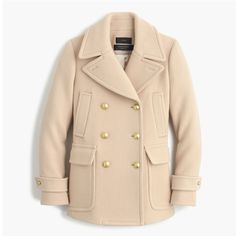NWT J CREW Women PETITE STADIUM-CLOTH MAJESTY PEACOAT  e1041 P00 Tan $179 #JCrew #COATJACKET