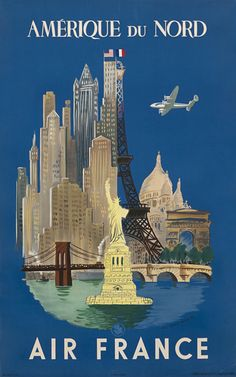 Travel poster by Luc-Marie Bayle French), Air France North America, Printer : Hubert Baille & Cie, Paris, x 2 in. Air France, Travel Ads, Travel Images, Usa Travel, Retro Poster, Vintage Travel Posters, Vintage Advertisements, Vintage Ads, Retro Airline
