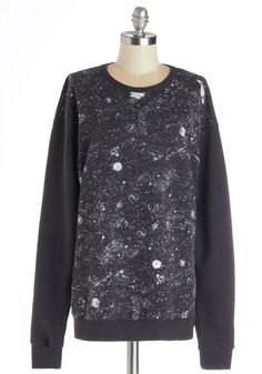Galaxy's Greatest Glow-in-the-Dark Sweatshirt. Isn't it just the worst when a trusty wardrobe staple seems to be sucked into a black hole?
