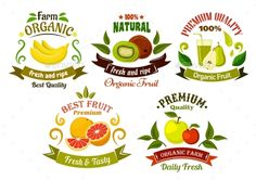 Buy Organic Fresh Fruits Emblems And Symbols by VectorTradition on GraphicRiver. Organic food emblems of healthy fresh fruits with apples, bananas, oranges, kiwis and pears with juice, framed by gre. Ribbon Logo, Ribbon Banner, Ripe Fruit, Fresh Fruit, Fruit Logo, Fruit Shop, Retro Recipes, Organic Fruit, Food Drawing