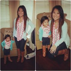 Mommy Daughter Matching Coral Scarf Chevron Boots Fall