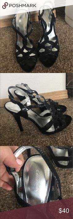 Calvin Klein Strappy Heels Black strappy heels with a cute black snakeskin detail. Only work once for a wedding! Calvin Klein Shoes Heels