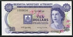 Currency of Bermuda - 10 dollars banknote of 1982, issued by the Bermuda Monetary Authority. Issued under the authority of the Bermuda legislature; Ten Dollars. Bermuda banknotes, Bermuda paper money, Bermuda bank notes, Bermudan banknotes, Bermudan paper money, Bermudan bank notes.  Obverse: Portrait of Her Majesty Queen Elizabeth II